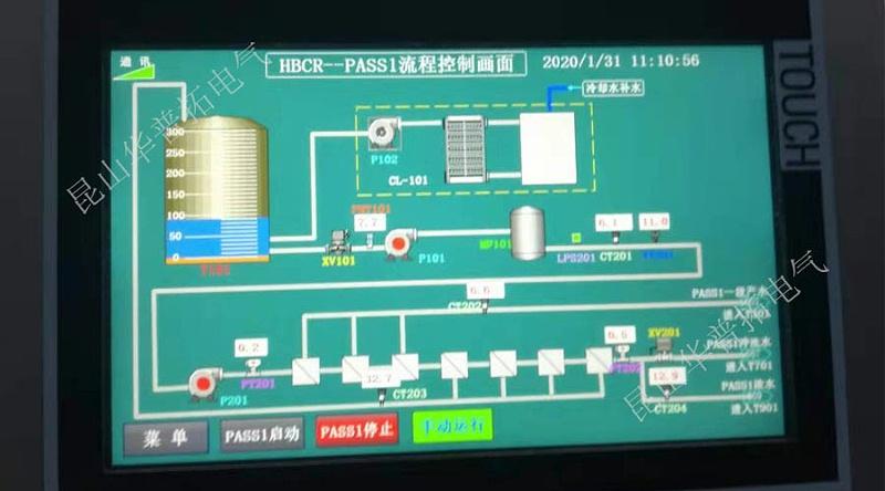 水处理系统plc控制柜触摸屏画面