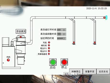 除尘清灰PLC控制箱动作画面
